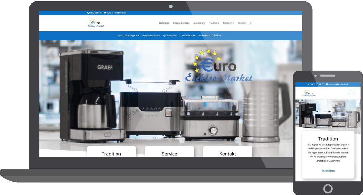 Screenshot von der Seite Euro Elektro Market